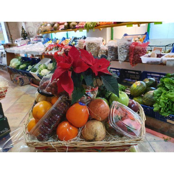 regalo cesta de fruta con planta