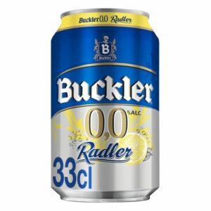 Cerveza Buckler 0,0 sin alcohol Radler con limón lata 33 cl